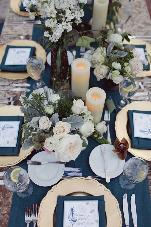 Gold And Blue Wedding Table Decorations & Gold And Blue Wedding Table Decorations - Unique Wedding Ideas