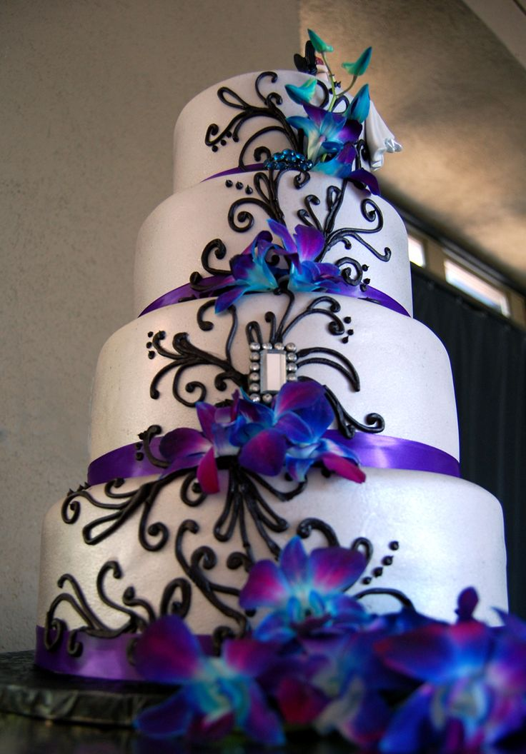 Purple And Teal Wedding Cake - Wedding Cake Flavors