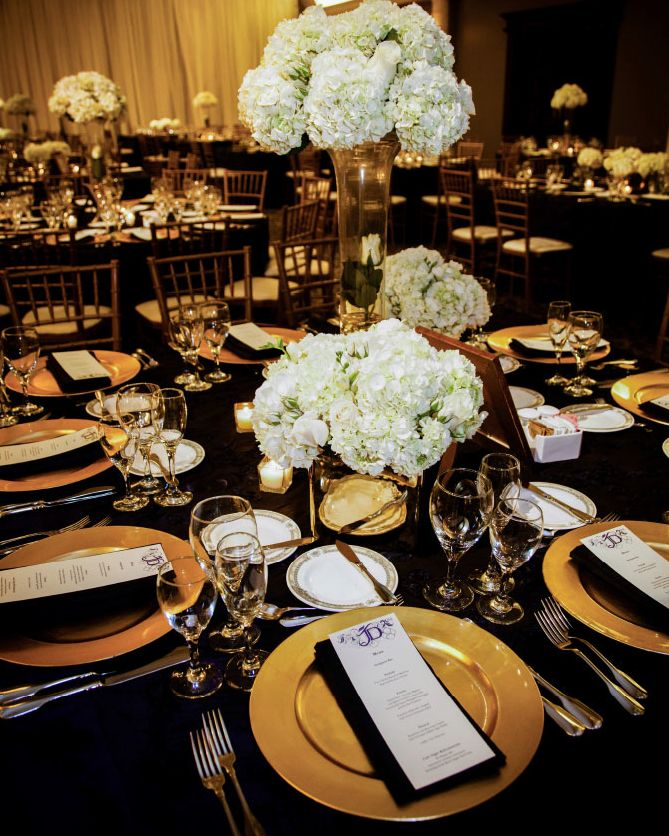 Black and gold wedding centerpieces