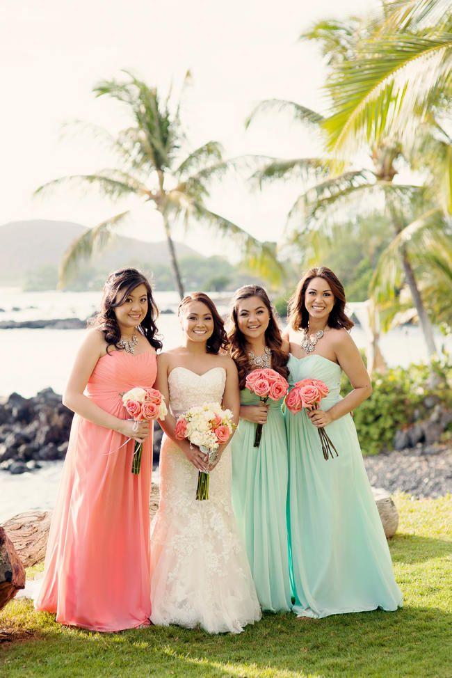 Mint Bridesmaid Dresses With Coral Bouquets Fashion Dresses