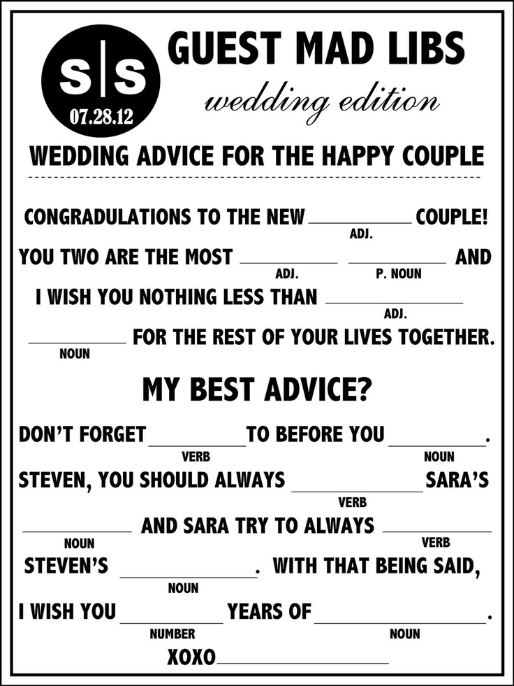 17 Best Ideas About Wedding Mad Libs On Emcraft Org