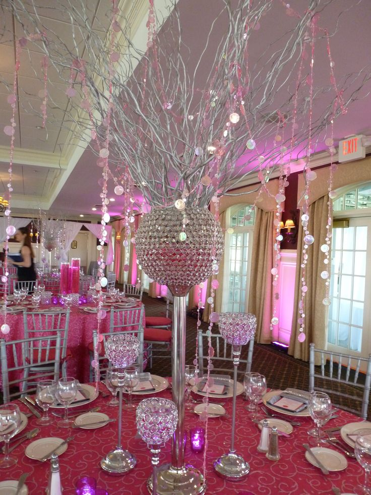 Pink White And Silver Wedding Centerpieces