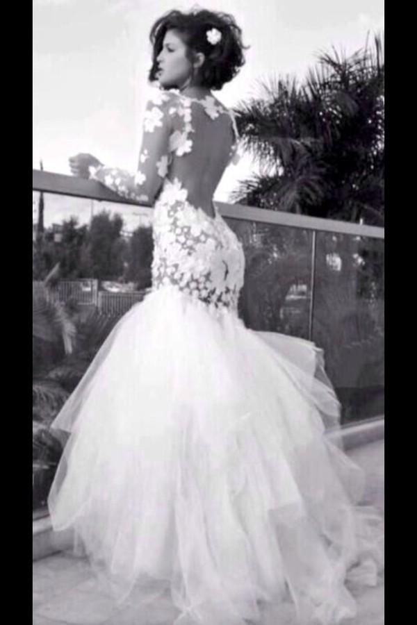 Black Lace Mermaid Wedding Dress