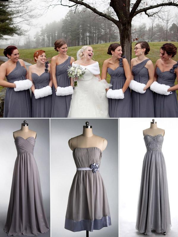Winter wedding bridesmaid dresses colors