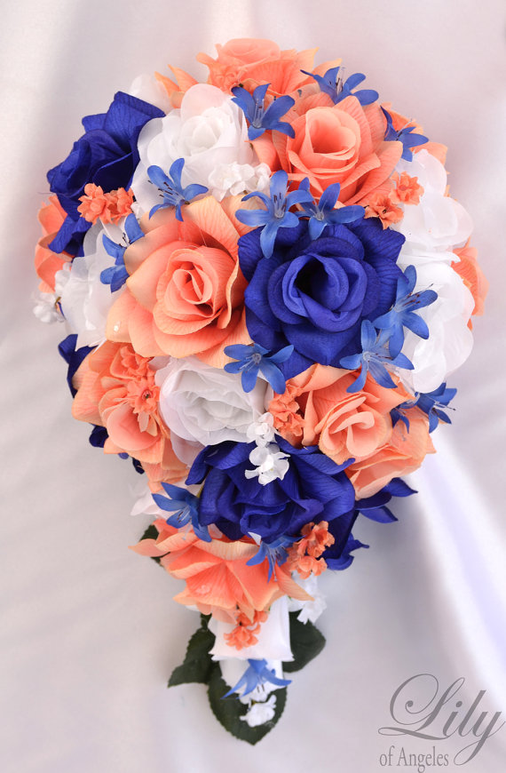 Coral And Navy Blue Wedding Flowers