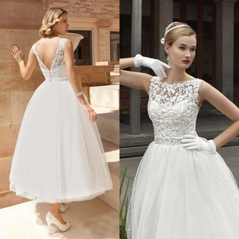 Vintage Lace Tea Length Beach Wedding Dress Short Sleeves: Vintage Tea Length Wedding Dress