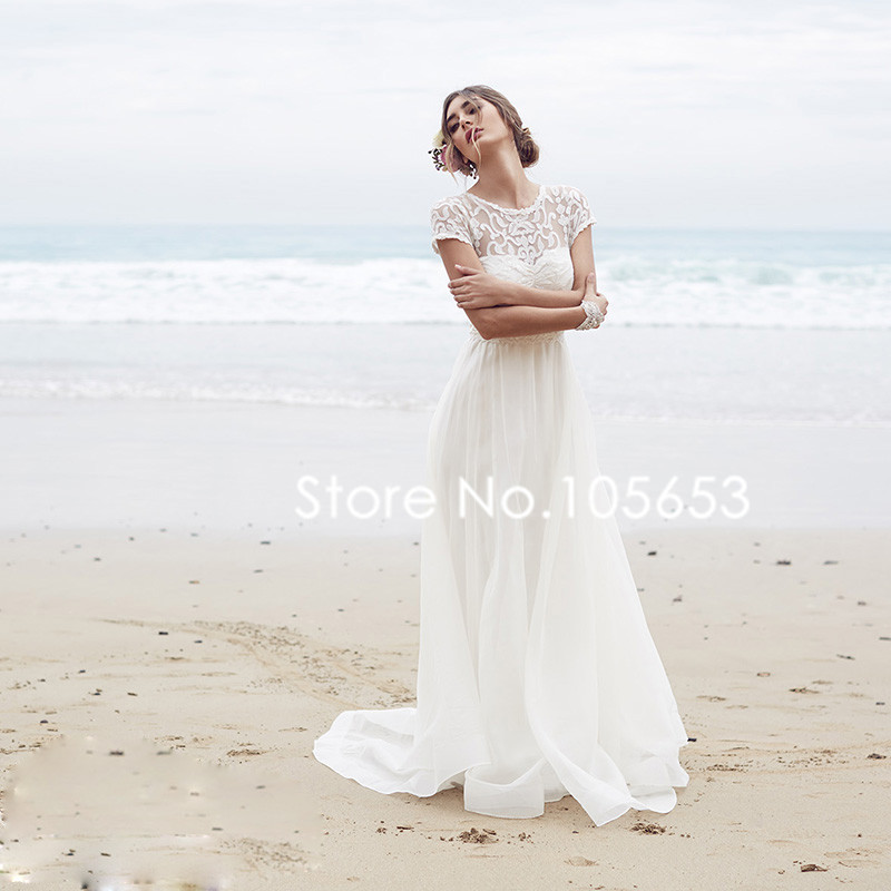 Boho wedding dress sleeves : Aliexpress com buy cap sleeve boho wedding dress simple