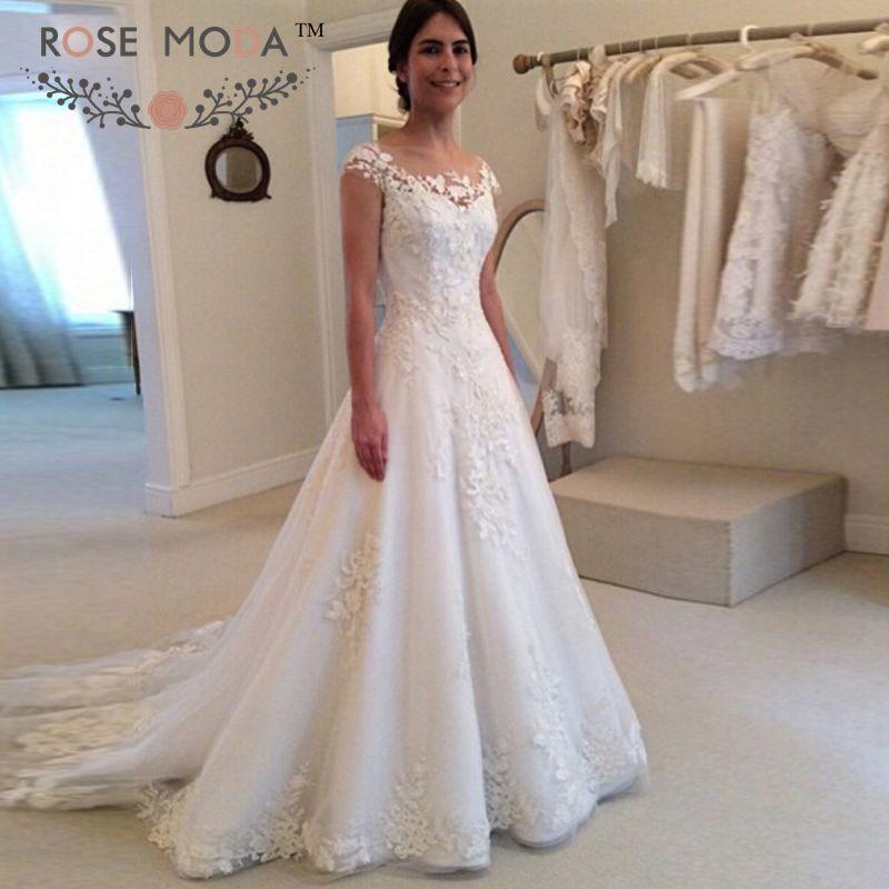 Lace a line wedding dress junglespirit Gallery