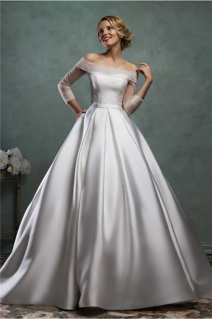 Simple ball gown wedding dress for Off the shoulder satin wedding dress