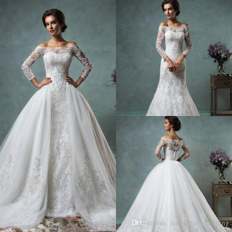 Wedding Dress With Detachable Skirts
