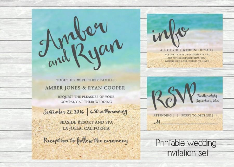 Beach Themed Wedding Invitations Templates: Beach Wedding Invitation