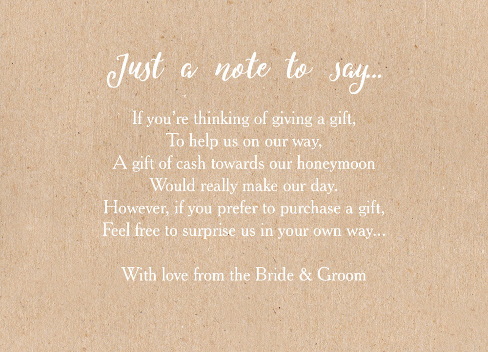 Wedding Money Poem Cards