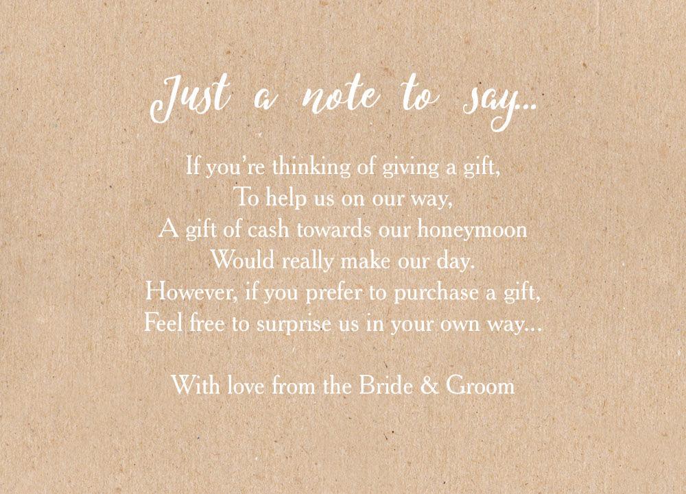 Wedding Gift Poems: Wedding Money Poem Cards