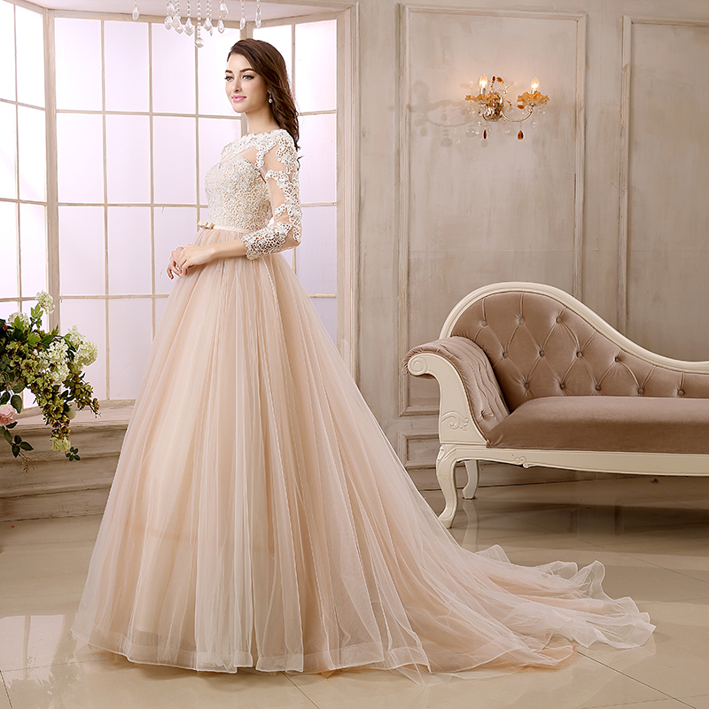 Colorful Wedding Dresses: Champagne Colored Wedding Dress