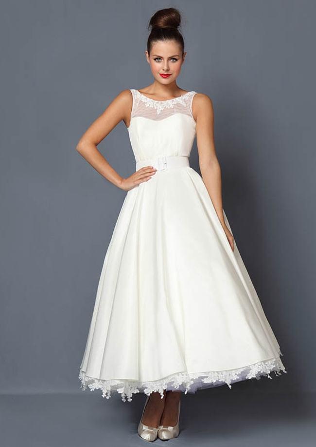 Tea Length Wedding Dress For Older Brides