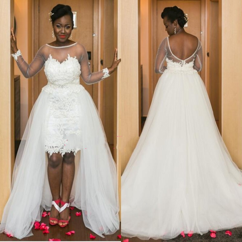 Best Short Wedding Dress With Detachable Train Pictures - Styles ...