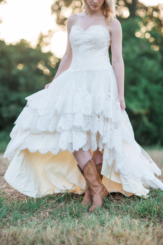Hem A Lace Wedding Dress : Country wedding dress with lace high low hem the guinevere