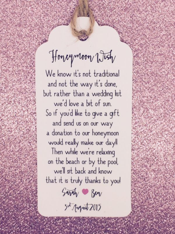 Wedding Gift Poems For Money For Honeymoon Gallery - Wedding ...