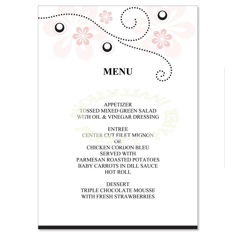 menu templates for weddings - wedding menu template