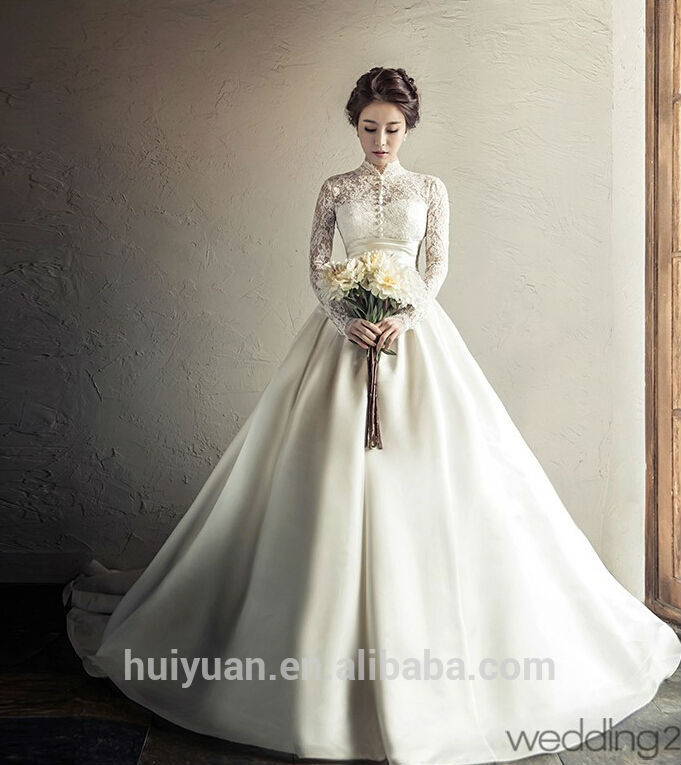 Elegant Long Sleeve Ball Gown High Neck Lace Silk Wedding Dresses