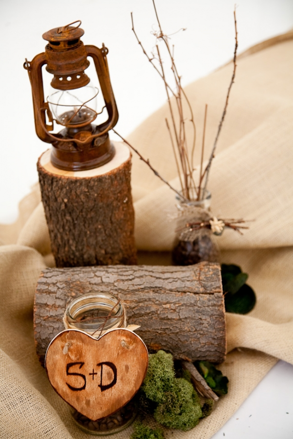 Wood wedding centerpiece ideas