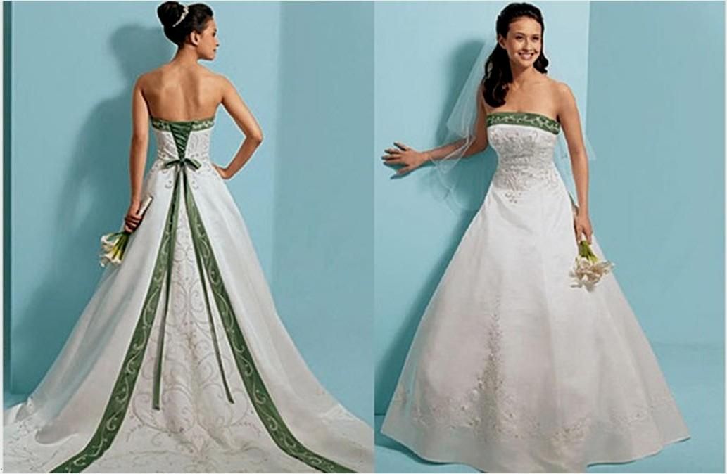 Emerald Green And White Wedding Dress