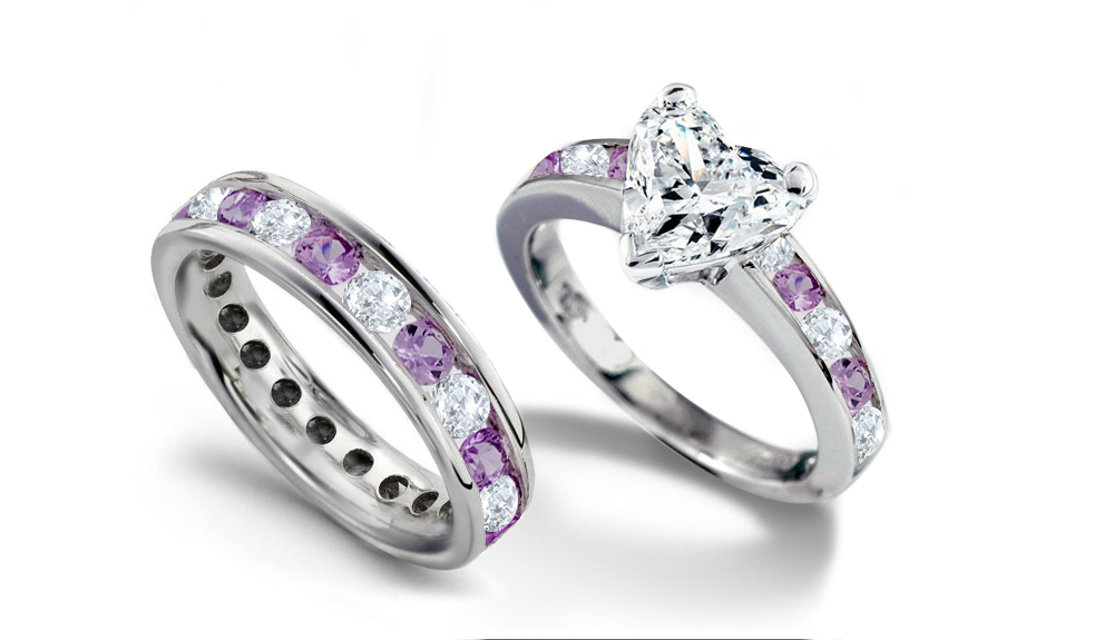 emerald heart diamond engagement rings wedding rings - Purple Wedding Ring