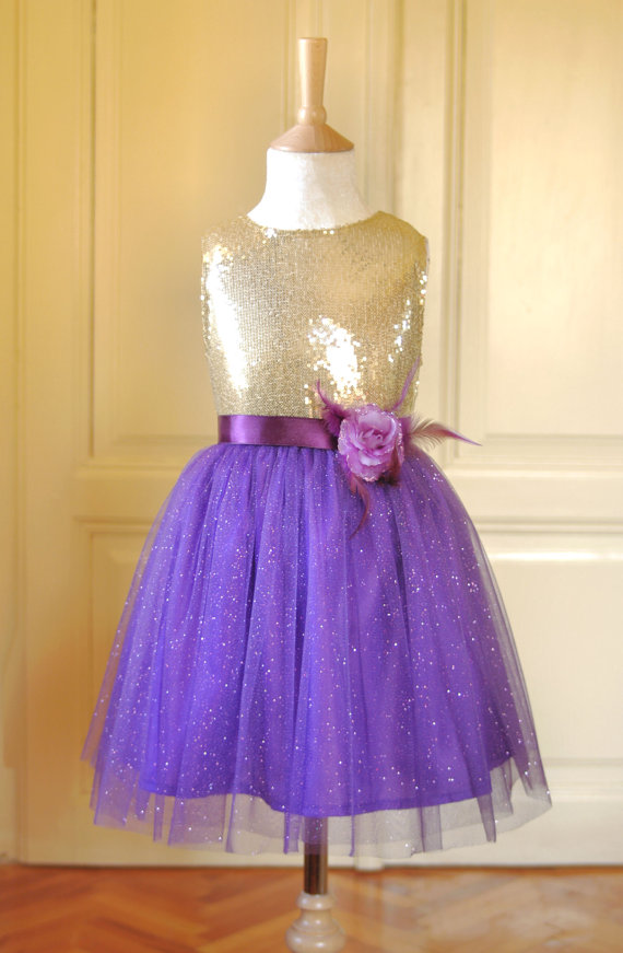 Purple and gold wedding dress flower girls dress gold white and purple gold sequined and junglespirit Image collections