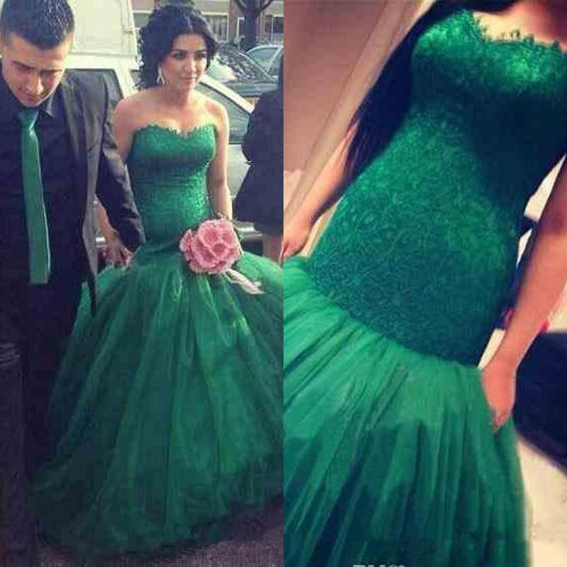 Dark green wedding dress