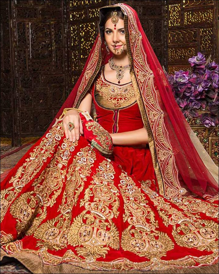 Red And Gold Indian Wedding Dress