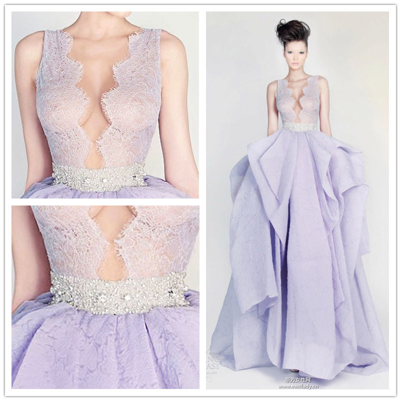 White Wedding Dress With Lavender