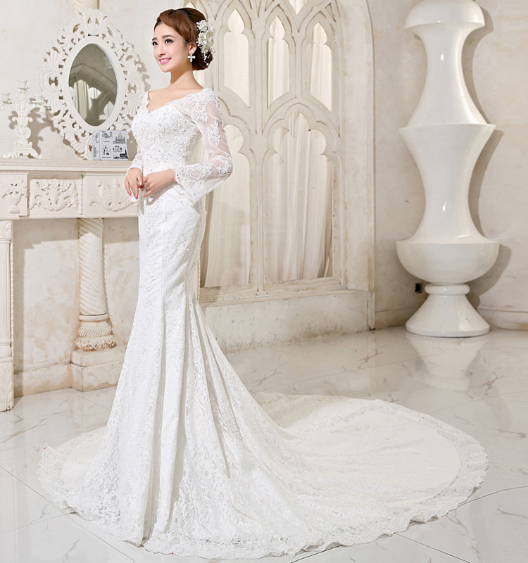 Long Sleeve Lace Fishtail Wedding Dress