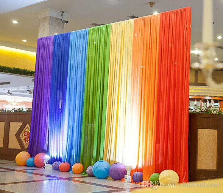 Rainbow wedding decorations new ice silk rainbow wedding backdrop colourful wedding background junglespirit Images