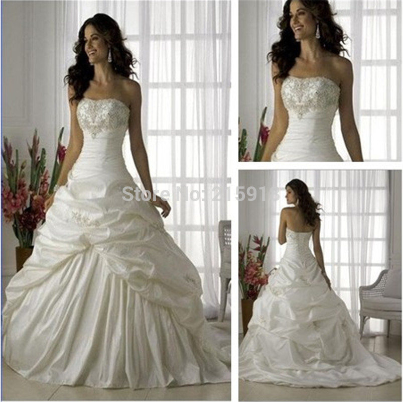 Wedding dress silver embroidery for Silver and white wedding dresses