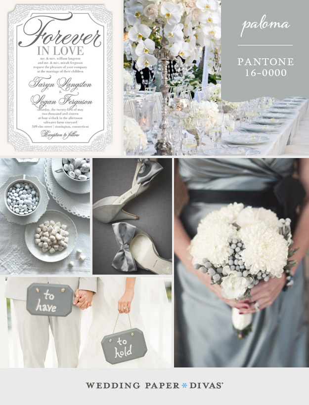 Silver And Ivory Wedding Colors Pantone Paloma Inspiration Board
