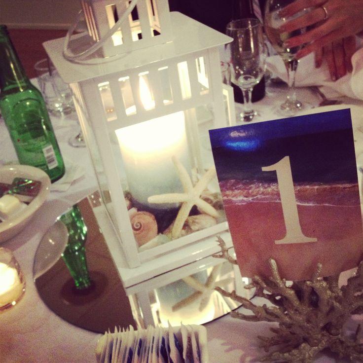 Beach wedding lantern centerpieces