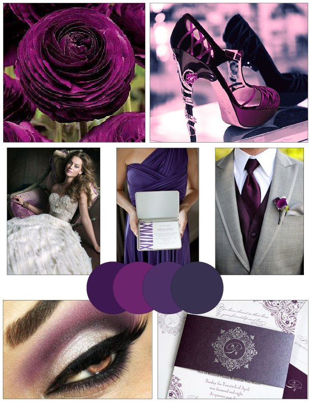plum and gray wedding