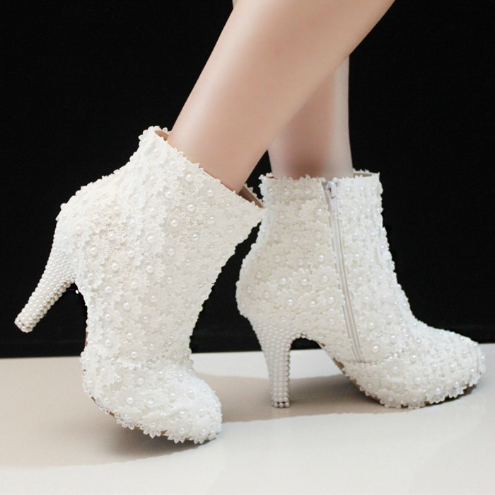 Por White Winter Wedding Boots