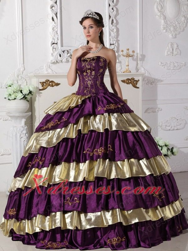 Purple And Gold Ball Gown Strapless Floor