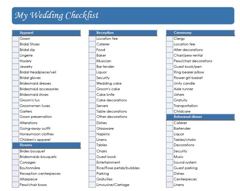Detailed Wedding Planning Checklist Printable