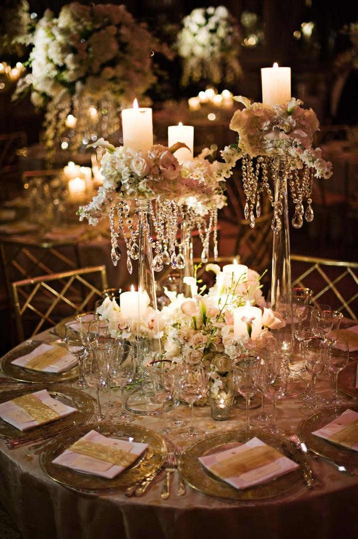 Crystal Vase Wedding Centerpiece Arrangement Tall Reception DÃ Cor Photos