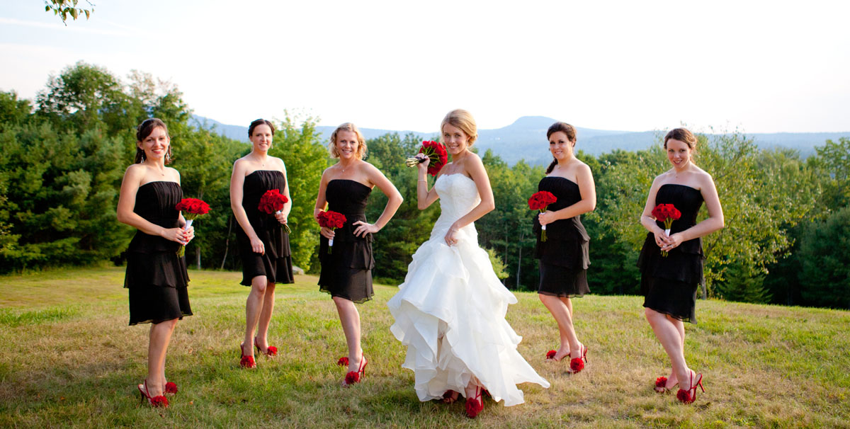 Red Black Wedding Album Maine Photographer