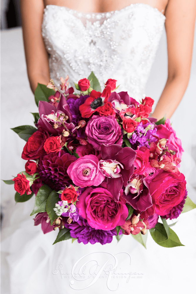Red Fuchsia Bridal Bouquet Toronto Wedding Flowers