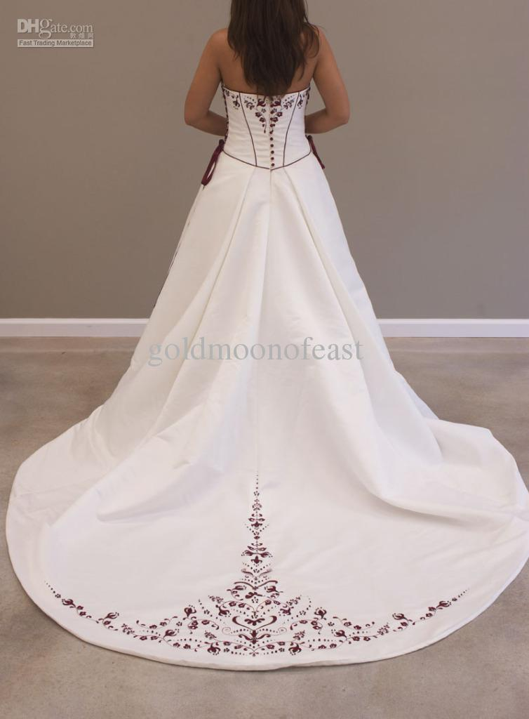 Sexy White Scoop Neckline Burgundy Embroidery Satin Lace Up Popular Wedding Dresses