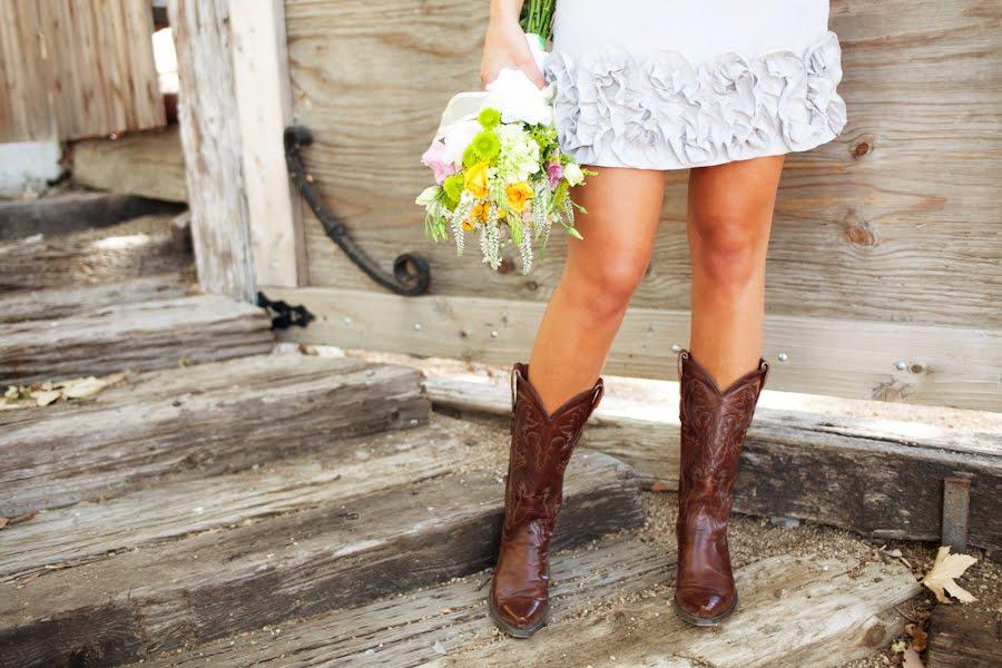Short Wedding Dress Cowboy Boots