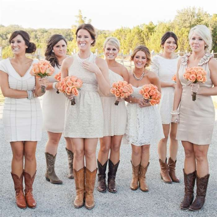 Short Wedding Dress And Cowboy Boots