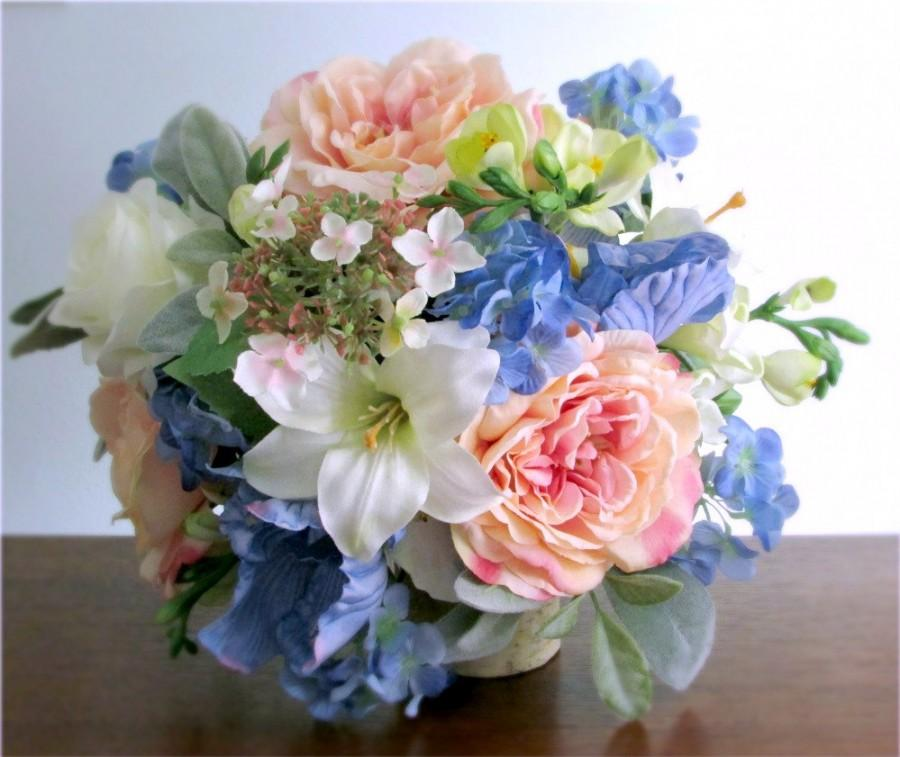 Light blue wedding flower arrangements silk bridal bouquet blush pink light blue green and ivory mightylinksfo