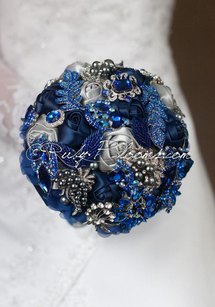 Navy Blue And Silver Wedding Bouquets