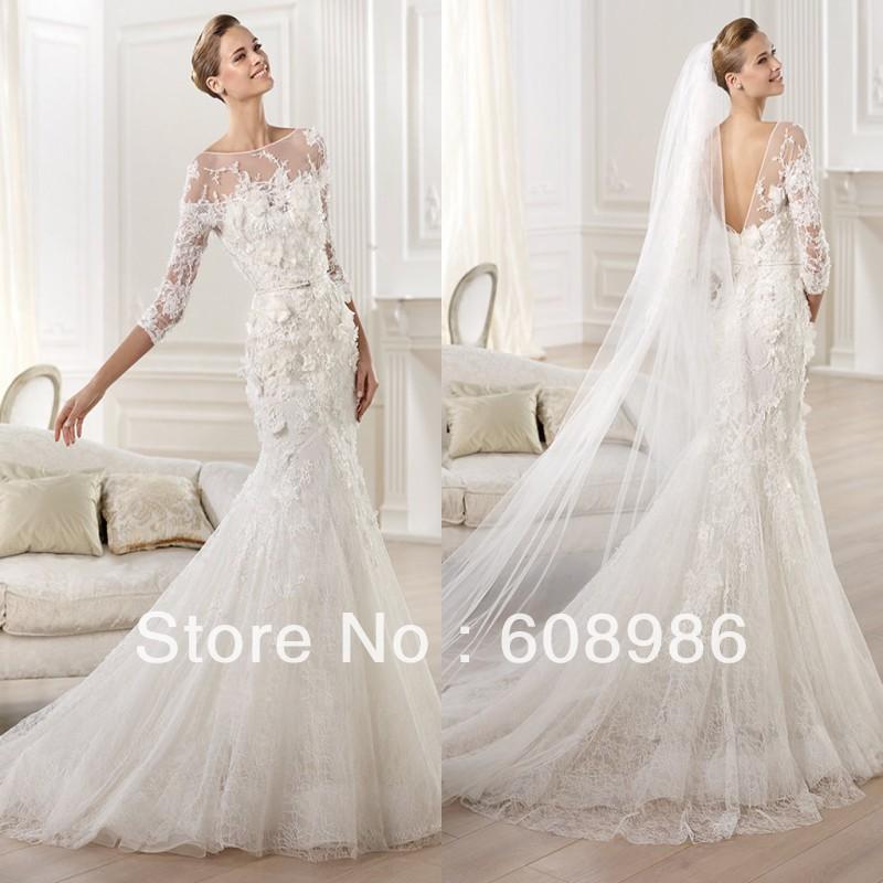 long sleeve trumpet wedding dress