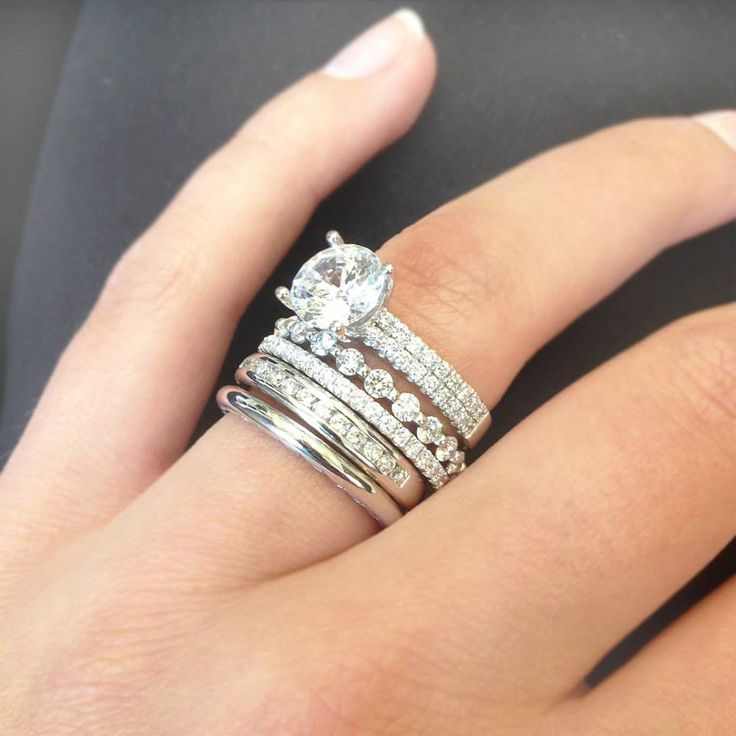 diamond wedding stacked three x banded rumor millsanjuan com bands rings
